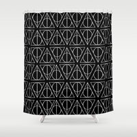 deathly hallows Shower Curtains featuring Hand Drawn Deathly Hallows // white  by Milly Scarlett