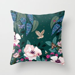 Buddleia Hedgerow at Night with Owl Throw Pillow