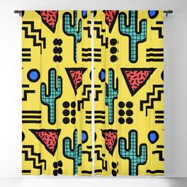 Retro Memphis Style Southwestern Cactus Design 431 Blackout Curtain