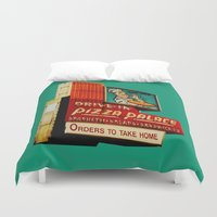 pizza Duvet Covers featuring Pizza by Hazel Bellhop