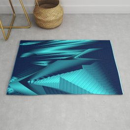 Diffuse landscap with stylised mountains, sea and light blue Sun. Rug