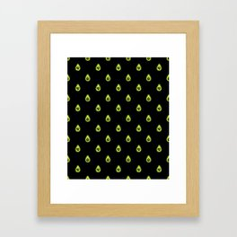 Avocado Hearts (black background) Framed Art Print