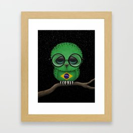 Baby Owl with Glasses and Brazilian Flag Framed Art Print