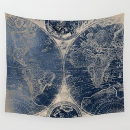Antique World Map Gold Navy Blue Library Wall Tapestry