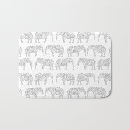 Geometric Elephant grey monochromatic minimal gray and white kids children pattern print  Bath Mat
