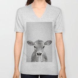 Calf - Black & White Unisex V-Neck