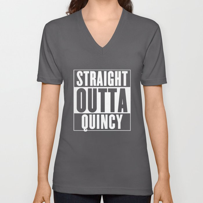 straight outta quincy brother t-shirts Unisex V-Neck