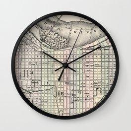 Vintage Map of Louisville Kentucky (1884) Wall Clock
