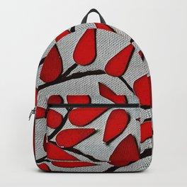 Red Autumn Leaves over Dark Skies Backpack