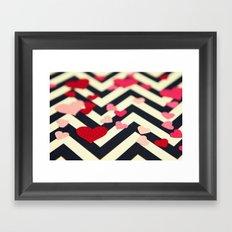 Chevron and Hearts Framed Art Print
