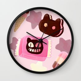 Cookie Cat! He left his family behind! Wall Clock