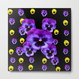 YELLOW & PURPLE PANSY FLOWERS SPRINKLED ON BLACK Metal Print