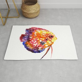Rainbow Colored Yellow Red Orange Blue Discus, cute fish Rug