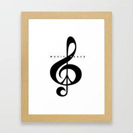 Black & White, Music & Peace  Framed Art Print