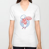 chef V-neck T-shirts featuring Pizza Chef by drawgood