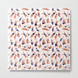 Summer Pattern | Sun Beach Holiday Sea Sand Palm Metal Print