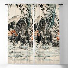 Fishing Baskets Traditional Japanese Landscape Blackout Curtain