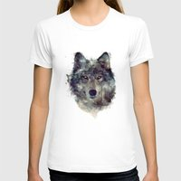 peace T-shirts featuring Wolf // Persevere  by Amy Hamilton