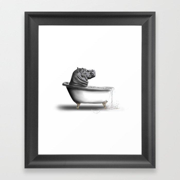 Hippo in Bath Framed Art Print