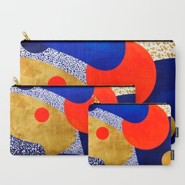 Terrazzo galaxy blue night yellow gold orange Carry-All Pouch