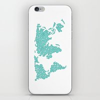 polkadot iPhone & iPod Skins featuring World Map - Polkadot Atlas (Cyan) by Rothko