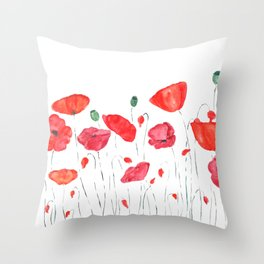 red and orange poppy field Throw Pillow