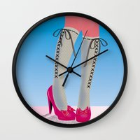 socks Wall Clocks featuring Socks by Heidi Sturgess
