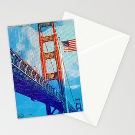 Golden Gate Bridge and the flag Stationery Cards