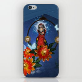 Funny cute parrot with flowers iPhone Skin