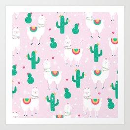 Llamas & Cactus Art Print