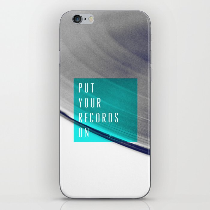 Records - Blue iPhone Skin