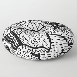 Free Hand Drawn Random Black and White Patterns Floor Pillow