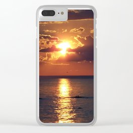 Flaming sky over Sea - Nature at its best Clear iPhone Case