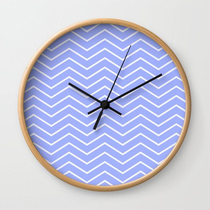 Fat Thin Chevrons Dove BLUE Wall Clock