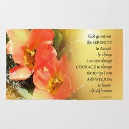 Serenity Prayer Red-Orange Tulips on Yellow Rug