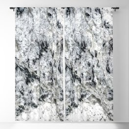 Dripping Granite // Gray Black and White Speckled Rivers of Rocky Earth Texture Blackout Curtain