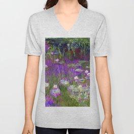 Water Lilies - Claude Monet (proton purple) Unisex V-Neck