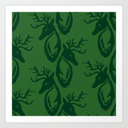 Green Deer Art Print