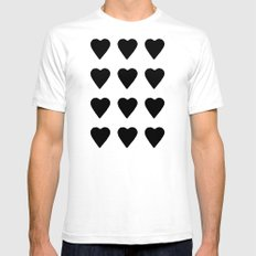 16 Hearts White on Black SMALL White Mens Fitted Tee