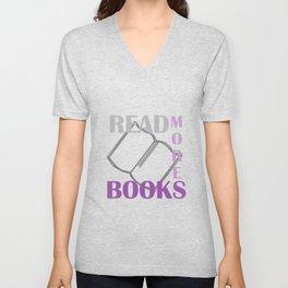 READ MORE BOOKS in purple Unisex V-Neck