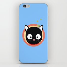 Black Cute Cat With Hearts iPhone Skin