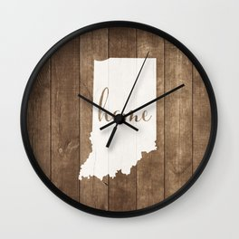 Indiana is Home - White on Wood Wall Clock
