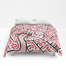 """""""The Face"""" - inspired by Keith Haring v. red Comforters"""