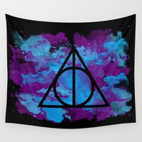 deathly hallows Wall Tapestries featuring Splatter Hallows  by Kasiasaurr