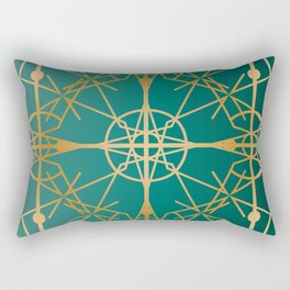Art Deco Frame Gold & Teal Rectangular Pillow