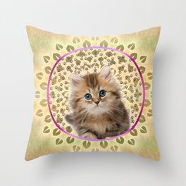 Sweet Kitty Cat Mandala Throw Pillow