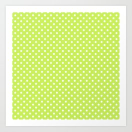 Bright green background with polka dot Art Print