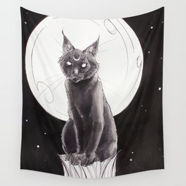 Black Cat and the Moon Wall Tapestry
