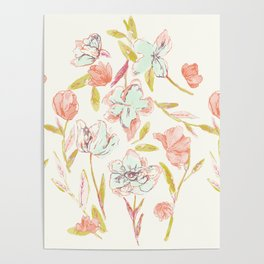 Dream in pink flowers Poster