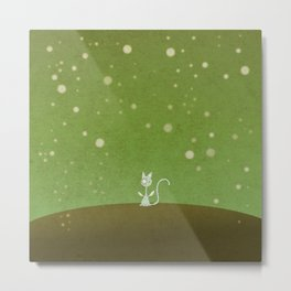 Small winged polka-dotted blue cat and spring Metal Print